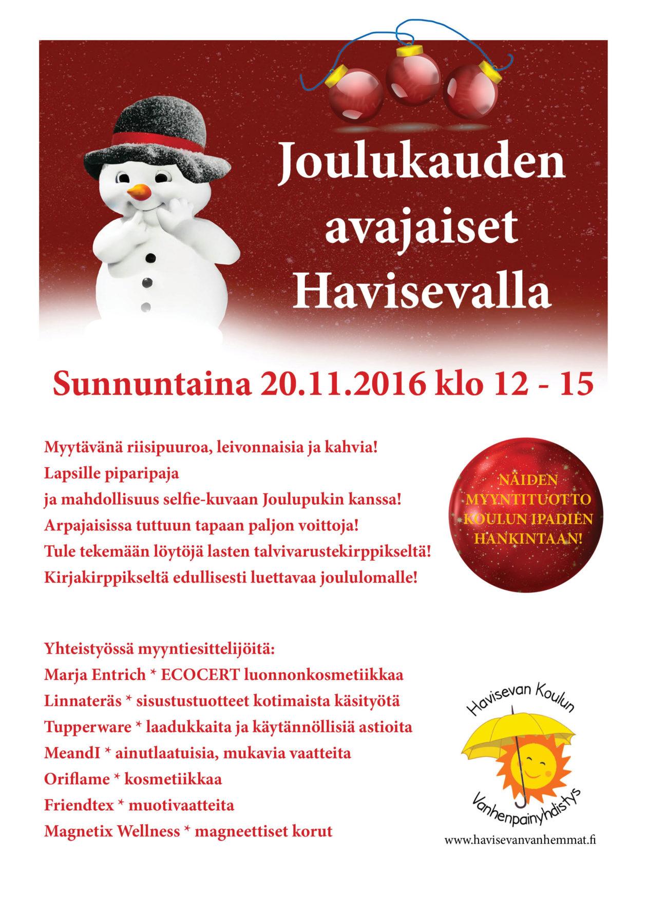 Joulukauden avajaiset 20.11.2016